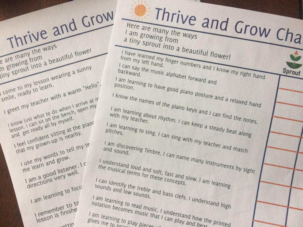 Paloma Piano - Thrive And Grow Preschool Chart