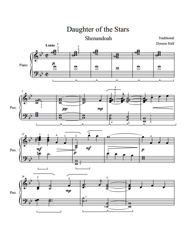 Paloma Piano - Shenandoah - Daughter of the Stars - Page 1