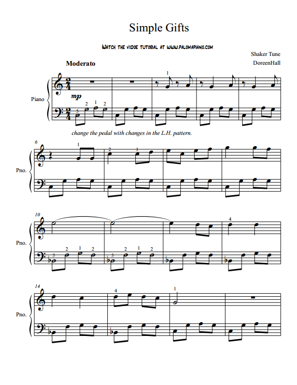Paloma Piano - Simple Gifts - Page 1