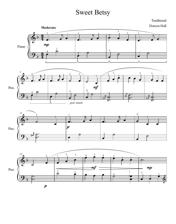 Paloma Piano - Sweet Betsy - Page 1