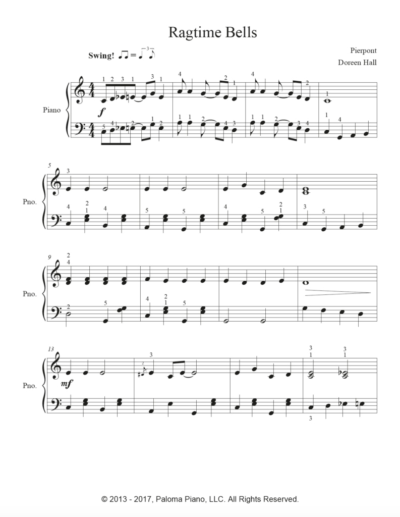 Paloma Piano - Ragtime Bells - Page 1