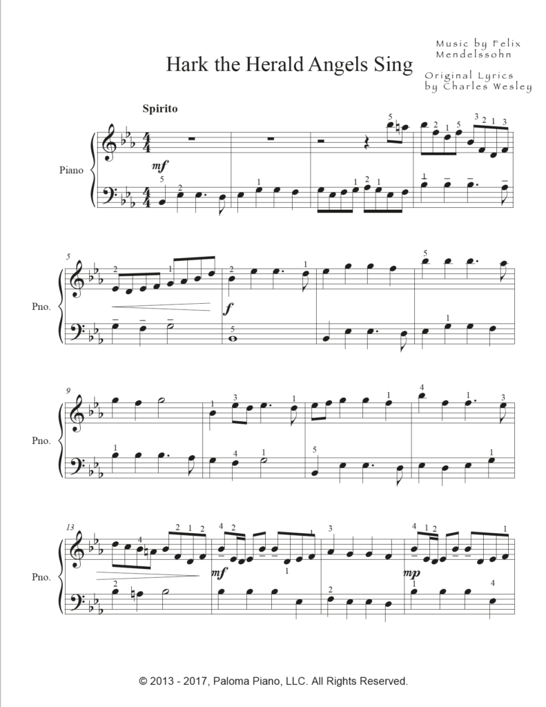 Paloma Piano - Hark the Herald Angels Sing - Page 1