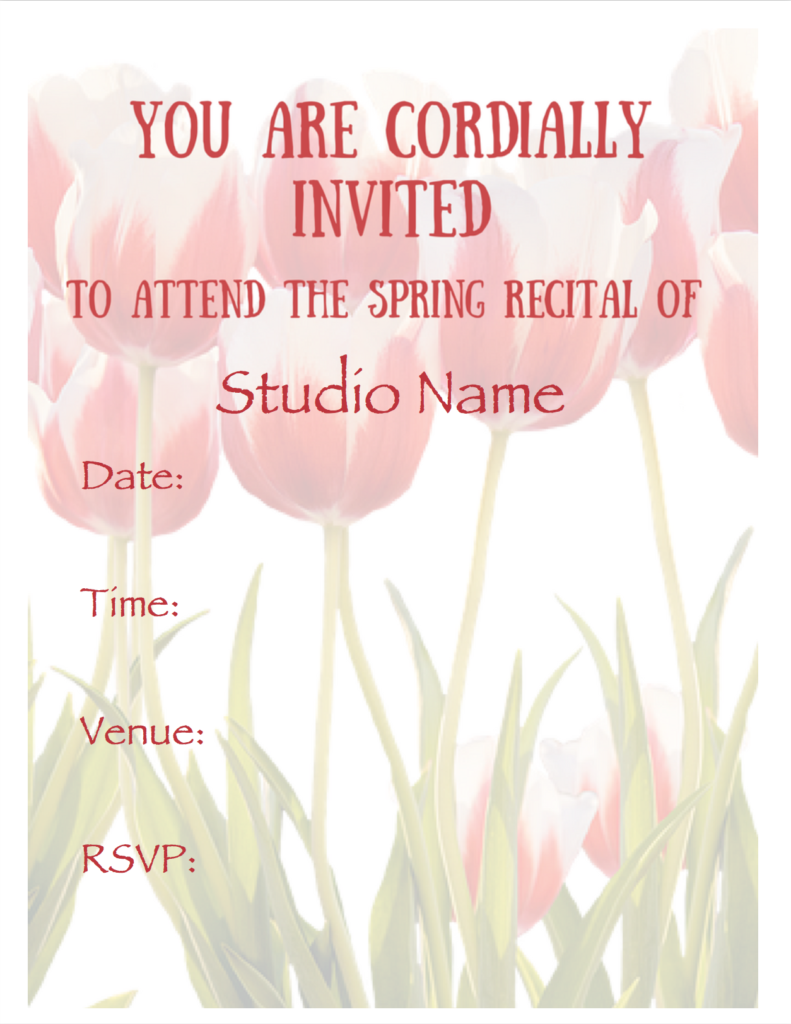 Paloma Piano - Spring Recital - Invitation