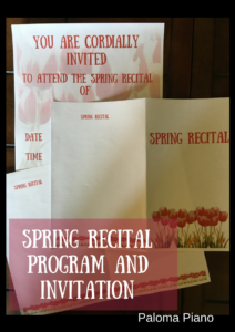 Paloma Piano - Spring Recital Program and Invitation