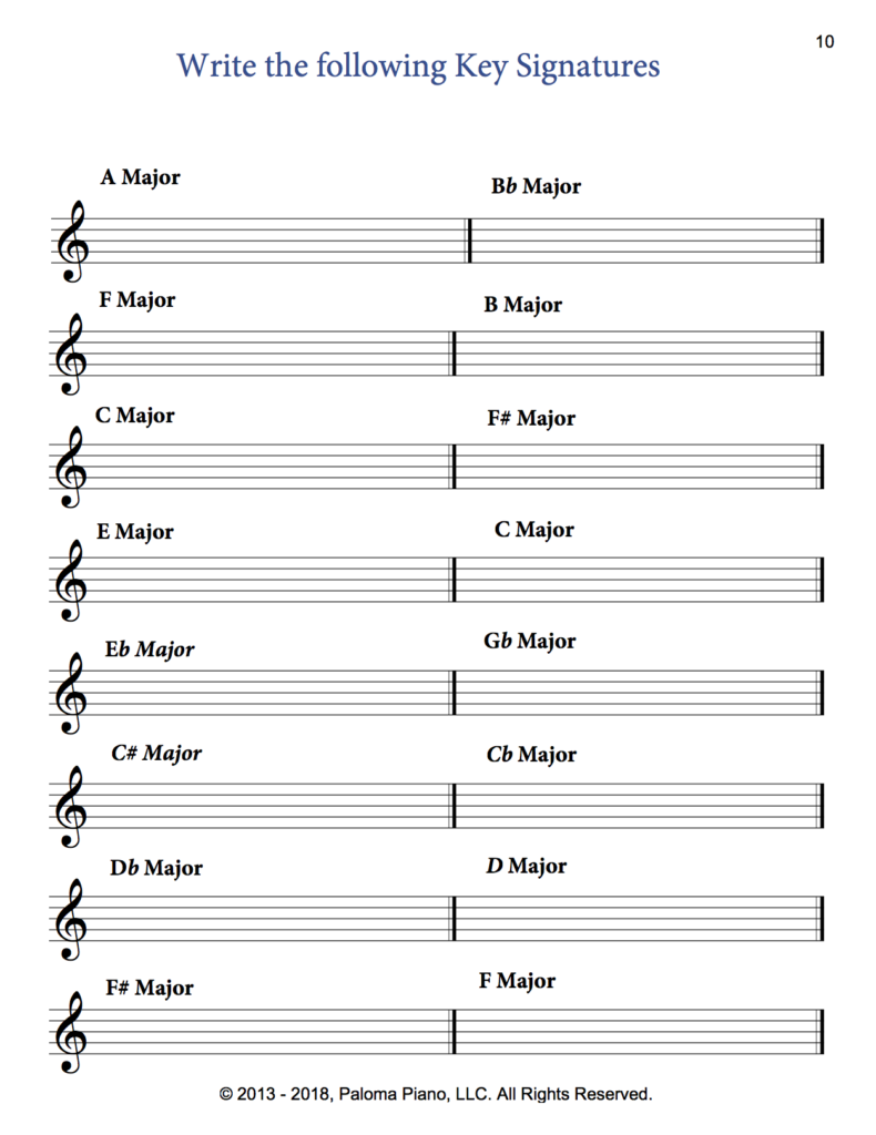 Paloma Piano - Music Theory - Major Key Signatures - Page 10