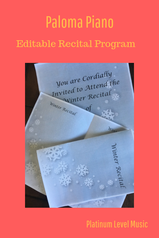 Winter Recital Program & Invitation