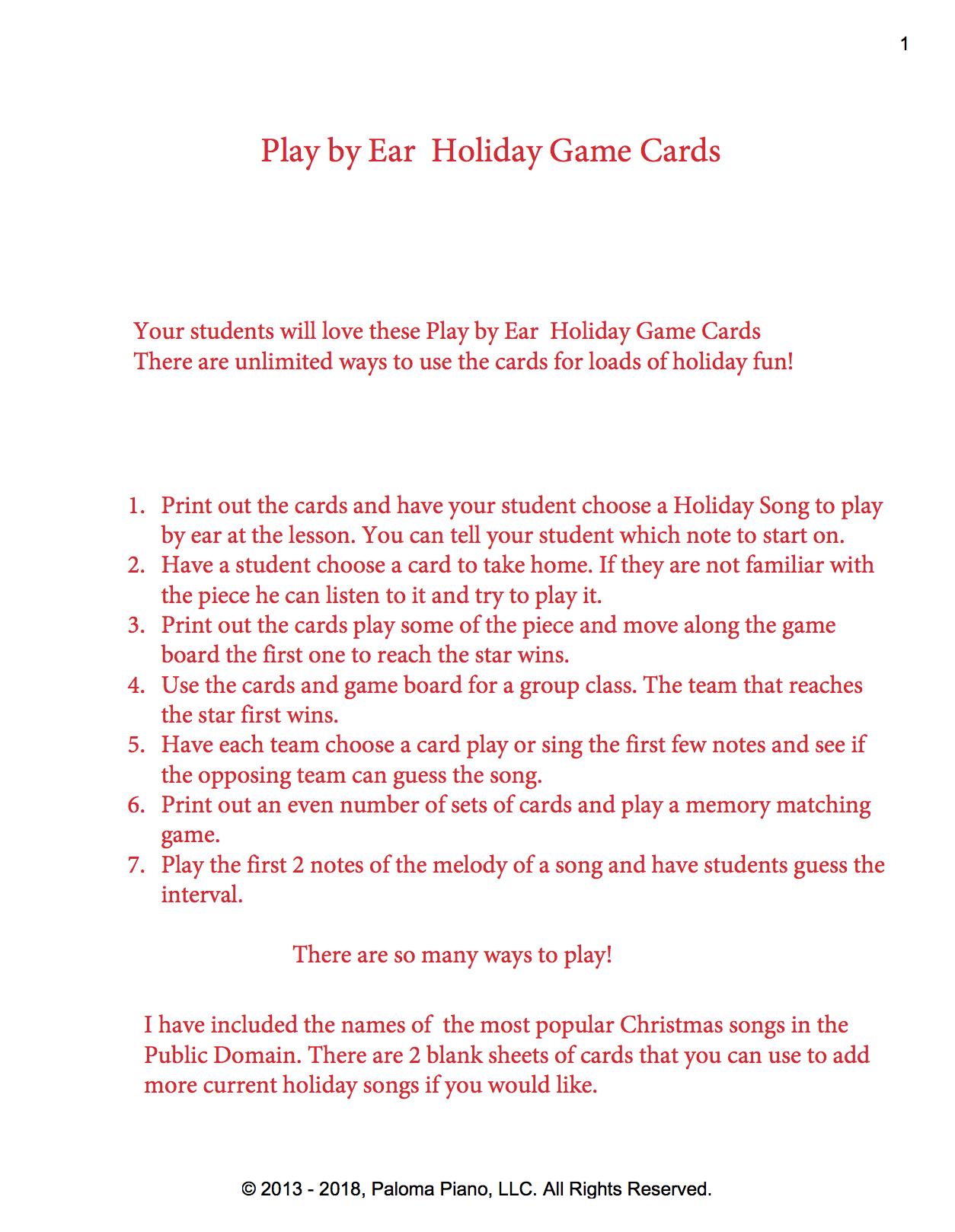 Paloma Piano - Play By Ear Holiday Card Game | Paloma Piano