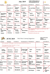 Paloma Piano 2019 Summer Listening Calendar