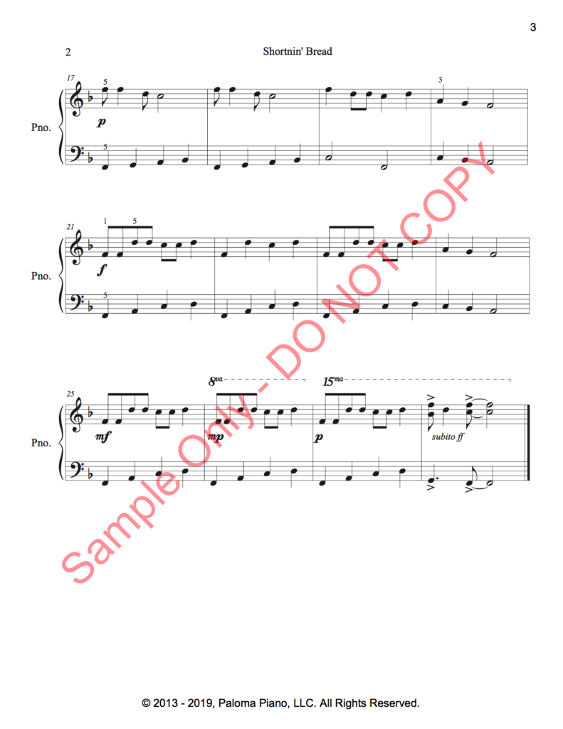 Paloma Piano - Shortnin' Bread -Page 2